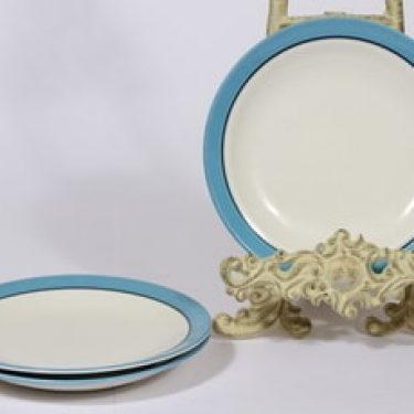 Arabia Harlekin Turkos lautaset, turkoosi, 3 kpl, suunnittelija Inkeri Leivo, pieni