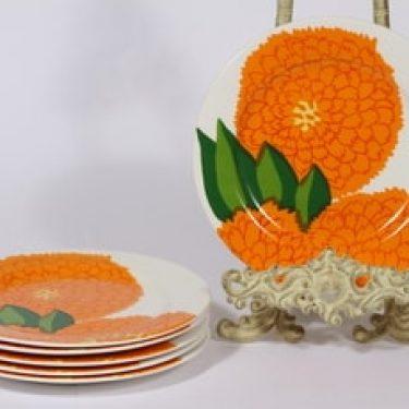 Iittala Primavera leivoslautaset, oranssi, 6 kpl, suunnittelija Maija Isola, serikuva