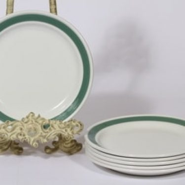 Arabia Taverna lautaset, vihreä, 6 kpl, suunnittelija , raitakoriste