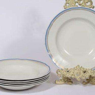 Arabia Lotta lautaset, syvä, 6 kpl, suunnittelija Reinhard Richter, syvä, raitakoriste, syvä