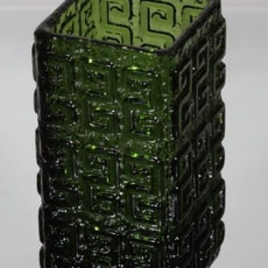 Riihimäen lasi Taalari maljakko, vihreä, suunnittelija Tamara Aladin, massiivinen