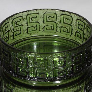 Riihimäen lasi Taalari kulho, vihreä, suunnittelija Tamara Aladin, massiivinen