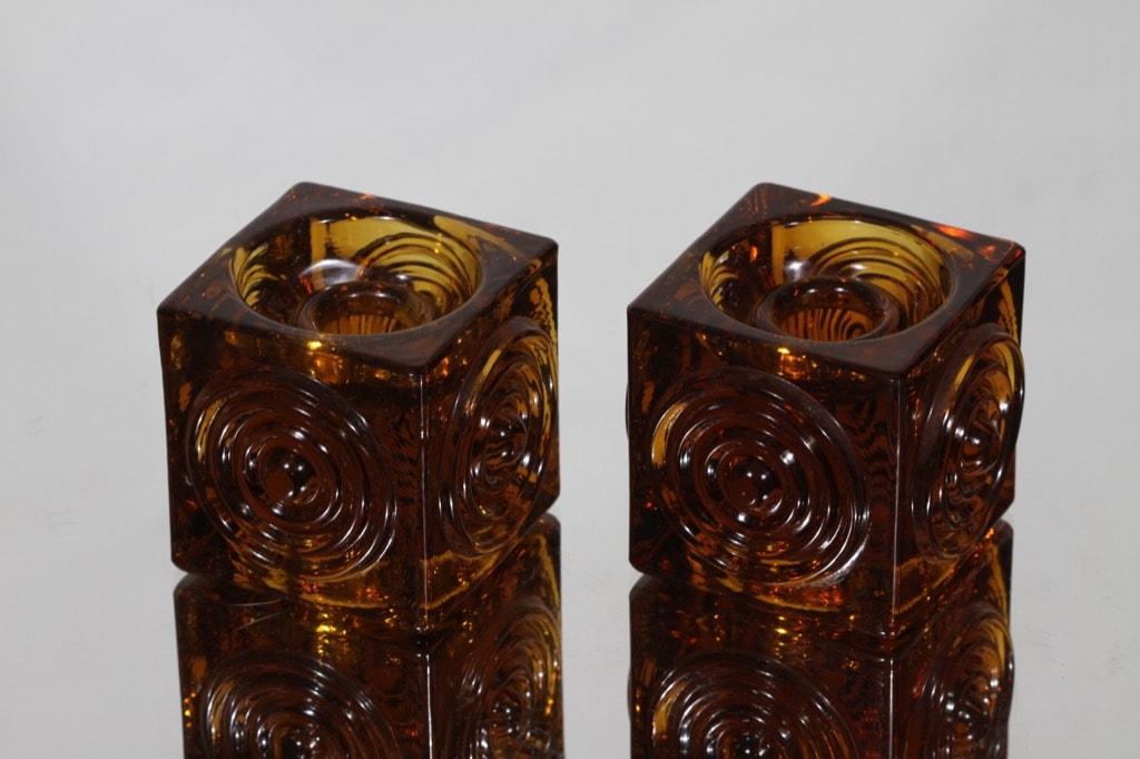 Riihimäen lasi Rengas kynttilänjalat, ruskea, 2 kpl, suunnittelija Tamara Aladin, massiivinen
