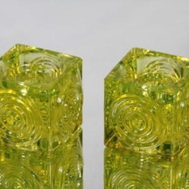 Riihimäen lasi Rengas kynttilänjalat, keltainen, 2 kpl, suunnittelija Tamara Aladin, massiivinen