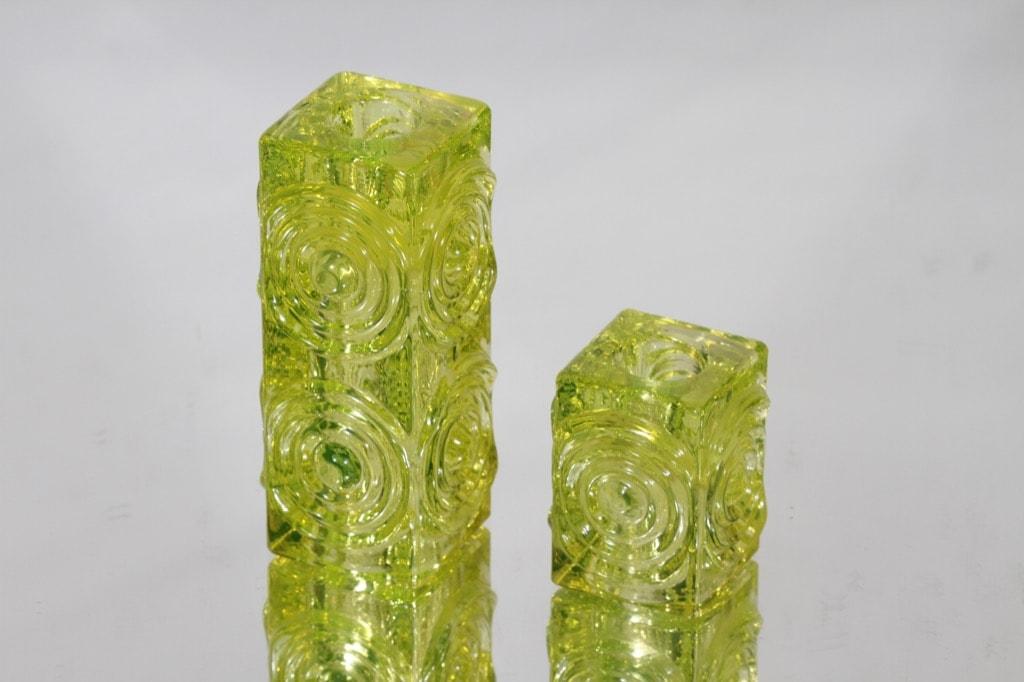 Riihimäen lasi Rengas kääntömaljakot, eri kokoja, 2 kpl, suunnittelija Tamara Aladin, eri kokoja, eri kokoja
