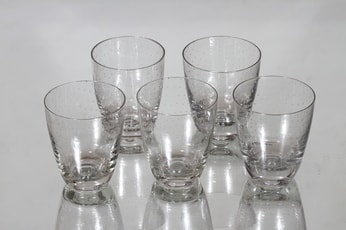 Nuutajärvi Pore lasit, kirkas, 5 kpl, suunnittelija Gunnel Nyman,