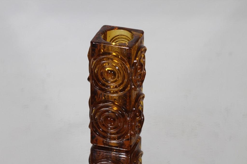 Riihimäen lasi Rengas kääntömaljakko, ruskea, suunnittelija Tamara Aladin,