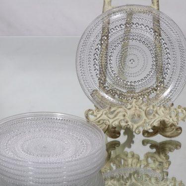 Nuutajärvi Kastehelmi lautaset, kirkas, 4 kpl, suunnittelija Oiva Toikka, pieni