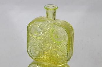 Riihimäen lasi Grapponia koristepullo, keltainen, suunnittelija Nanny Still,