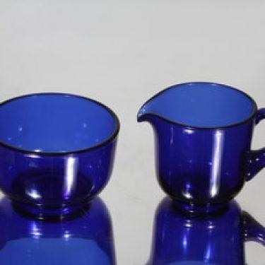 Nuutajärvi 5577|5578 sokerikko ja kermakko, sininen, suunnittelija Saara Hopea,