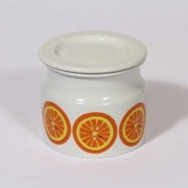 Arabia Pomona purnukka, appelsiini, suunnittelija Raija Uosikkinen, appelsiini, serikuva, appelsiini