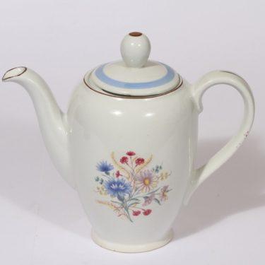 Arabia R kahvikaadin, 1 l, suunnittelija Olga Osol, 1 l, siirtokuva, 1 l, kukkakuvio