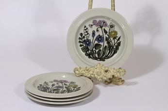 Arabia Flora lautaset, 4 kpl, suunnittelija Esteri Tomula, pieni, kukka-aihe