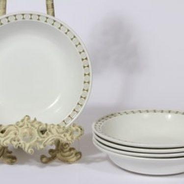 Arabia Seita lautaset, syvä, 5 kpl, suunnittelija Raija Uosikkinen, syvä, serikuva, syvä
