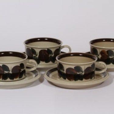 Arabia Ruija teekupit, käsinmaalattu, 4 kpl, suunnittelija Raija Uosikkinen, käsinmaalattu, käsinmaalattu