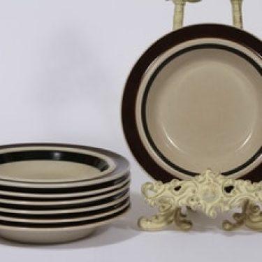 Arabia Ruija lautaset, syvä, 7 kpl, suunnittelija Raija Uosikkinen, syvä, raitakoriste, syvä