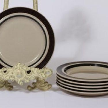 Arabia Ruija lautaset, ruskea, 6 kpl, suunnittelija Raija Uosikkinen, pieni