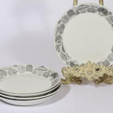 Arabia Tatti lautaset, 5 kpl, suunnittelija Esteri Tomula, pieni