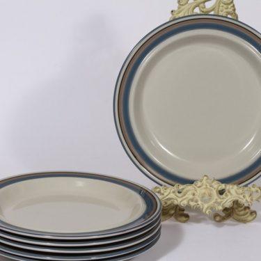 Arabia Uhtua lautaset, matala, 6 kpl, suunnittelija Inkeri Leivo, matala, raitakoriste, matala