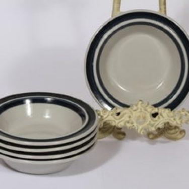 Arabia Anemone lautaset, syvä, 5 kpl, suunnittelija Ulla Procope, syvä, raitakoriste, syvä