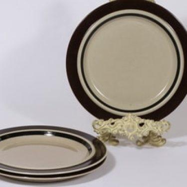 Arabia Ruija lautaset, matala, 3 kpl, suunnittelija Raija Uosikkinen, matala, raitakoriste, matala