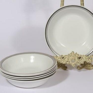 Arabia Platina lautaset, syvä, 6 kpl, suunnittelija Raija Uosikkinen, syvä, raitakoriste, syvä