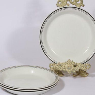 Arabia Platina lautaset, matala, 4 kpl, suunnittelija Raija Uosikkinen, matala, raitakoriste, matala