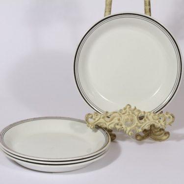 Arabia Platina lautaset, 4 kpl, suunnittelija Raija Uosikkinen, raitakoriste, pieni