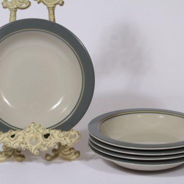 Arabia Kombi lautaset, syvä, 5 kpl, suunnittelija Kati Tuominen-Niittylä, syvä, raitakoriste, syvä