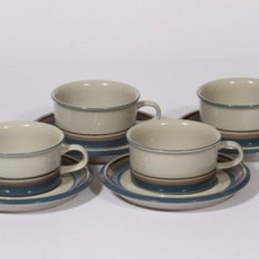 Arabia Uhtua teekupit, 4 kpl, suunnittelija Inkeri Leivo, raitakoriste