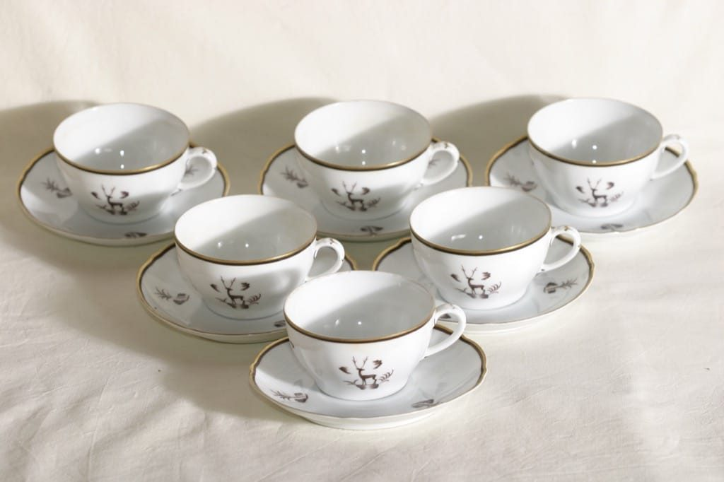 Arabia Diana teekupit, 6 kpl, suunnittelija , art deco