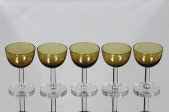 Nuutajärvi 1125 liköörilasi, amber, 5 kpl, suunnittelija Saara Hopea,