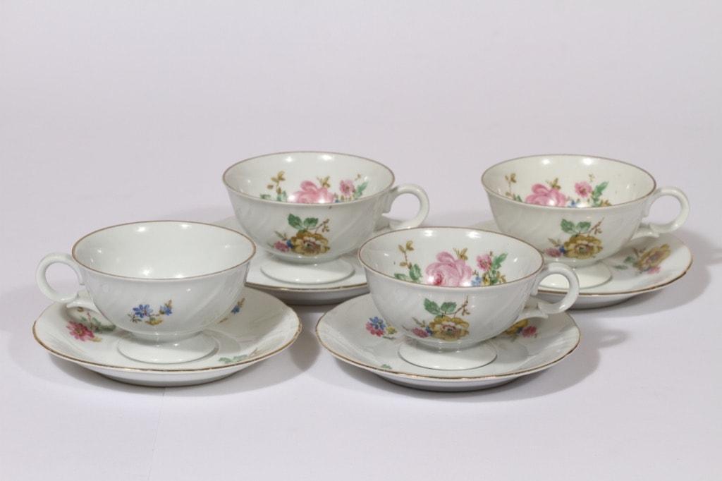 Arabia RE kahvikupit, kukkakuvio, 4 kpl, suunnittelija , kukkakuvio, siirtokuva, kukkakuvio