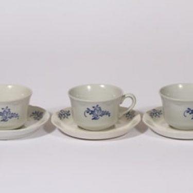Arabia FQ kahvikupit, kukkakuvio, 3 kpl, suunnittelija , kukkakuvio, kuparipainokoriste, kukkakuvio
