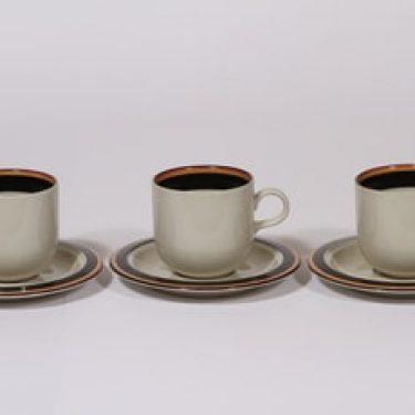 Arabia Reimari kahvikupit, 3 kpl, suunnittelija Inkeri Leivo, raitakoriste