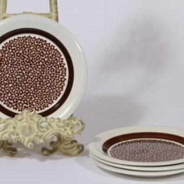 Arabia Faenza lautaset, ruskea, 4 kpl, suunnittelija Inkeri Seppälä, pieni