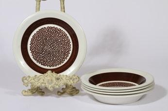 Arabia Faenza lautaset, syvä, 5 kpl, suunnittelija Inkeri Seppälä, syvä, serikuva, syvä