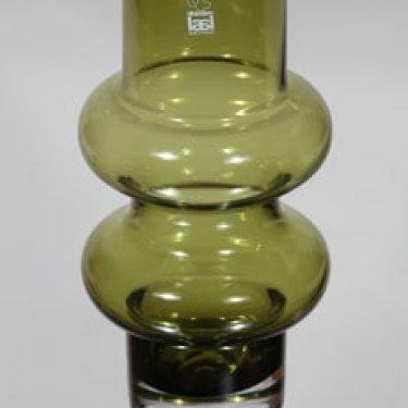 Riihimäen lasi Solmuke maljakko, oliivinvihreä, suunnittelija Tamara Aladin,