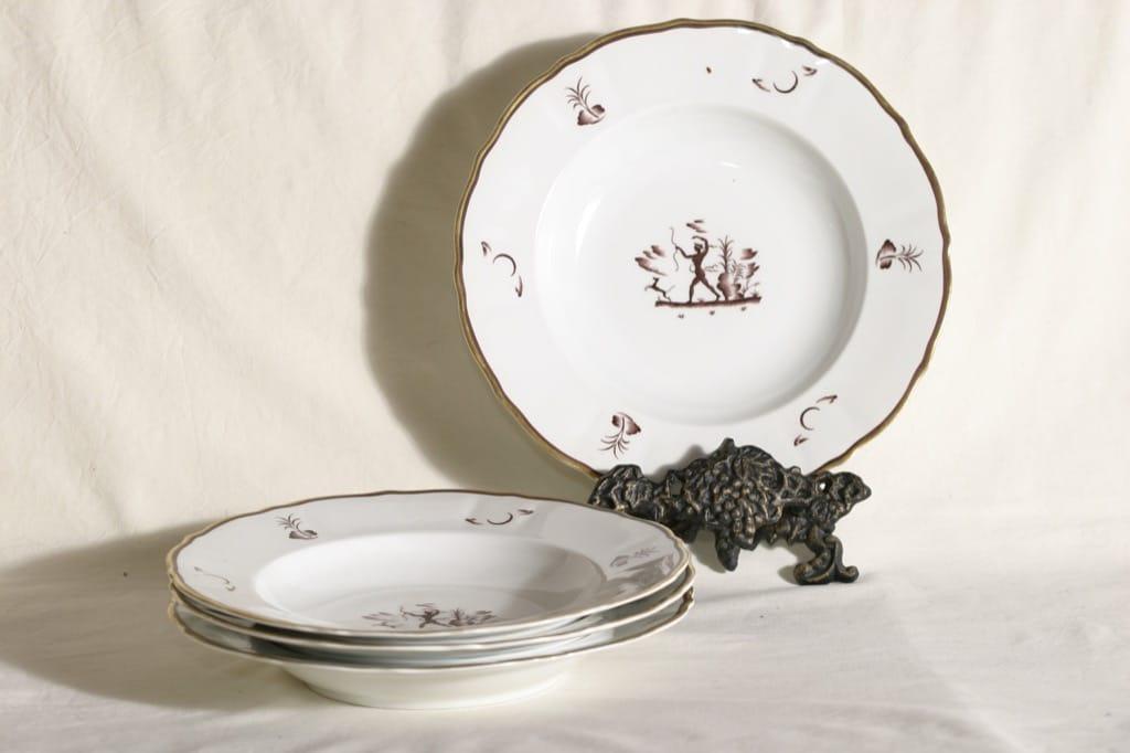 Arabia Diana lautaset, syvä, 4 kpl, suunnittelija , syvä, art deco