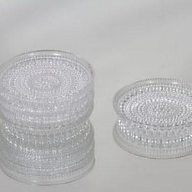 Nuutajärvi Kastehelmi lautaset, kirkas, 5 kpl, suunnittelija Oiva Toikka, pieni