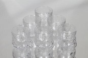 Nuutajärvi Fauna lasit, kirkas, 6 kpl, suunnittelija Oiva Toikka,