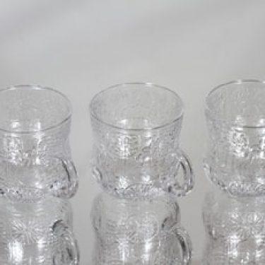 Nuutajärvi Fauna lasit, kirkas, 3 kpl, suunnittelija Oiva Toikka,