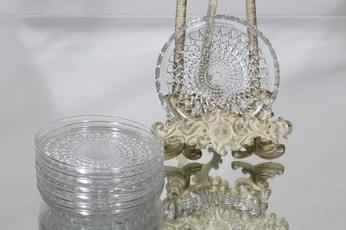 Riihimäen lasi Merja lautaset, kirkas, 7 kpl, suunnittelija Tamara Aladin,
