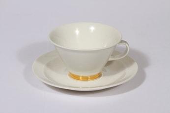Arabia Harlekin Gold teekuppi, suunnittelija Inkeri Leivo, kullattu koriste