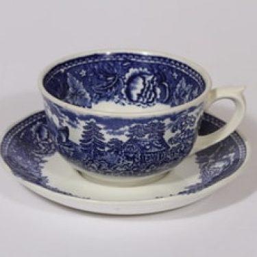 Arabia Maisema teekuppi, sininen, suunnittelija , suuri, kuparipainokoriste