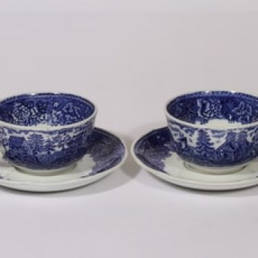 Arabia Maisema teekupit, sininen, 2 kpl, suunnittelija , kuparipainokoriste