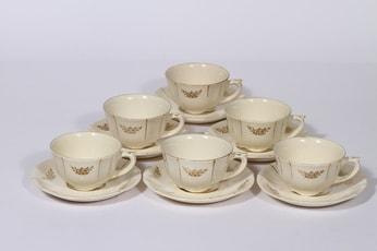 Arabia Irja kahvikupit, 6 kpl, suunnittelija , painettu, kultakoriste
