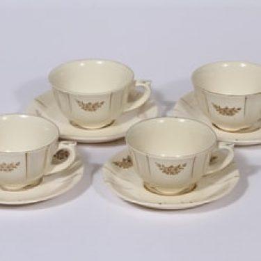 Arabia Irja kahvikupit, 4 kpl, suunnittelija , painettu, kultakoriste