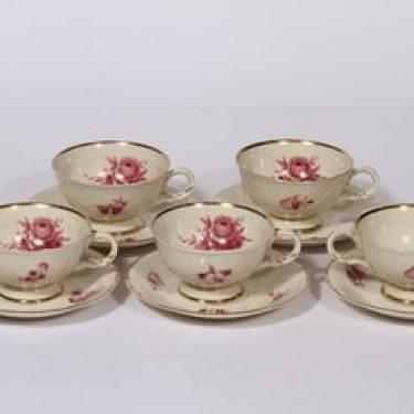 Arabia Regina kahvikupit, 5 kpl, suunnittelija Svea Granlund, siirtokuva, kukka-aihe