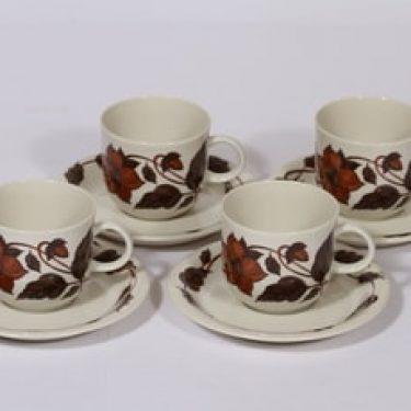 Arabia Cafe kahvikupit, ruskea, 4 kpl, suunnittelija Gunvor Olin-Grönqvist, serikuva